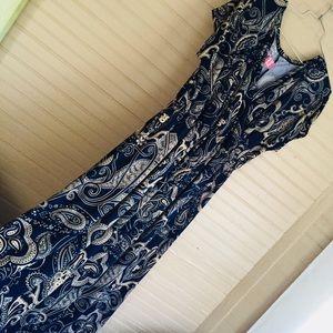 Navy blue maxi dress wrap top style size XXL